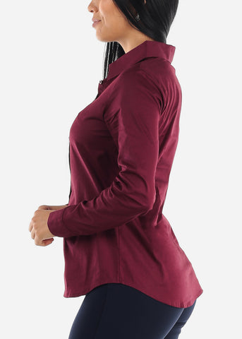 Missy Fit Button Up Burgundy Shirt