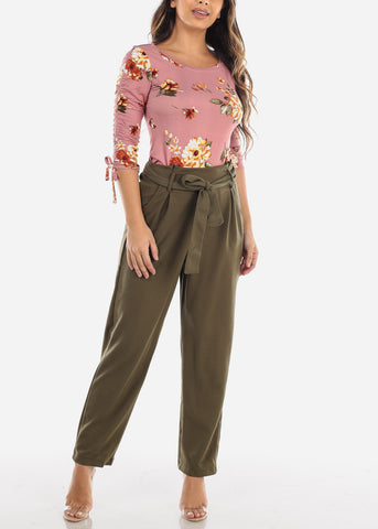Mauve Floral Print Ruched Sleeve Top