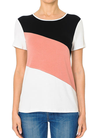 Casual Colorblock Mauve Top