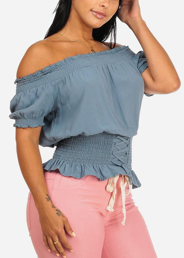 Strapless Off Teal Stretchy Casual Top