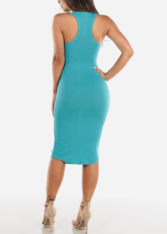Teal Bodycon Midi Dress