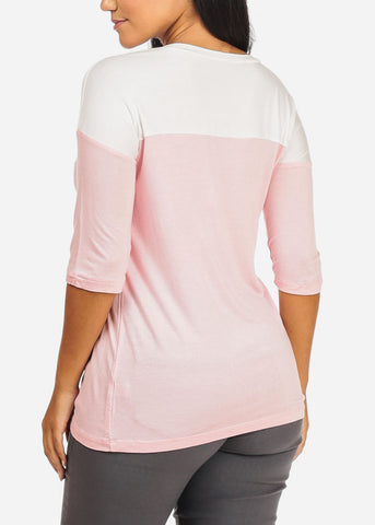 Image of 2 Tone Light Pink Top