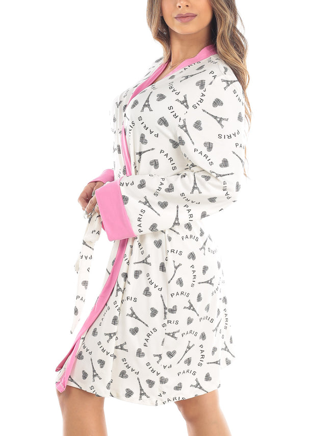 Paris Print Self Tie White Robe