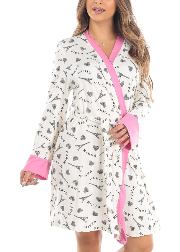 Long Sleeve Open Tie Front White Paris Graphic Print Sleepwear Robe