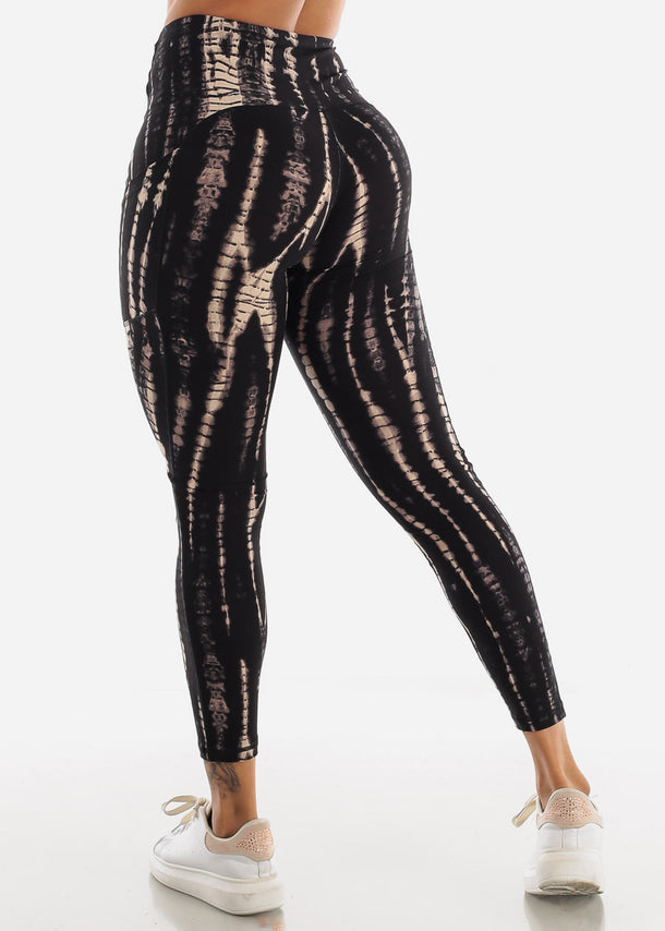 Black & Cream Tie Dye Leggings