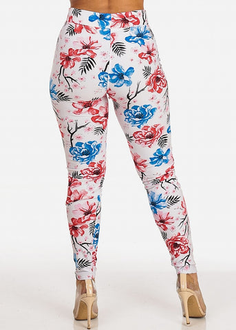 Stretchy Floral White Leggings