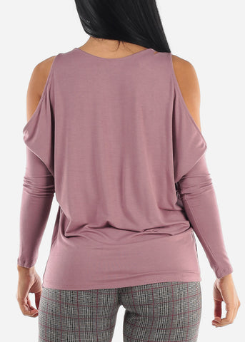 Cold Shoulder Long Sleeve Plum Top