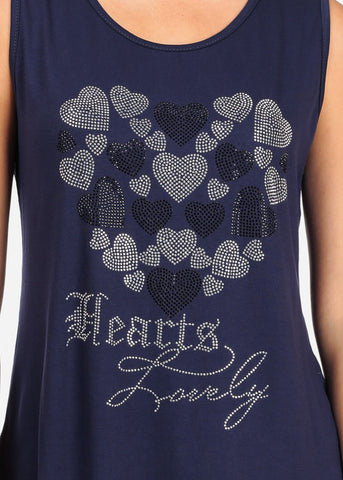 Women's Junior Casual Super Stretchy Sleeveless Rhinestone Hearts Lovely Print Navy Tunic Top
