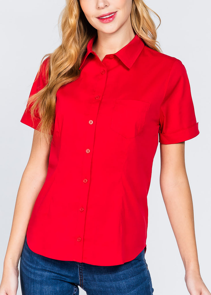 Short Sleeve Button Up Red Top