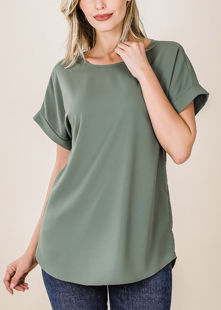 Woven Boat Neckline Olive Blouse