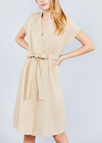 Image of Short Sleeve Khaki Linen Dress