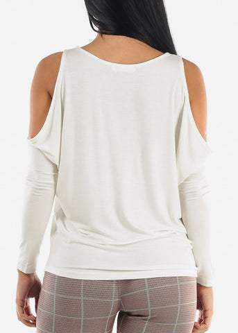 Image of Cold Shoulder Long Sleeve White Top
