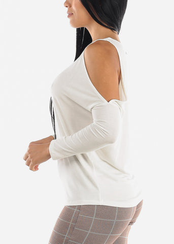 Cold Shoulder Long Sleeve White Top