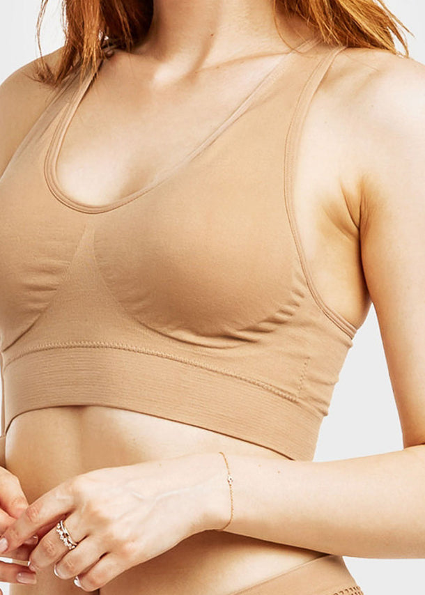 ONE SIZE Nude Racerback Sports Bra