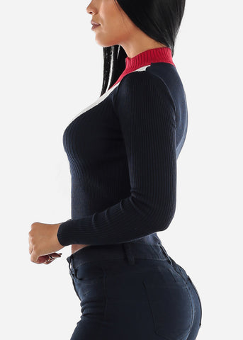 Half Zip Up Ribbed Navy Sweater