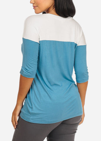 2 Tone Light Blue Top