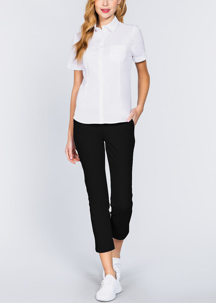 Short Sleeve Button Up White Top