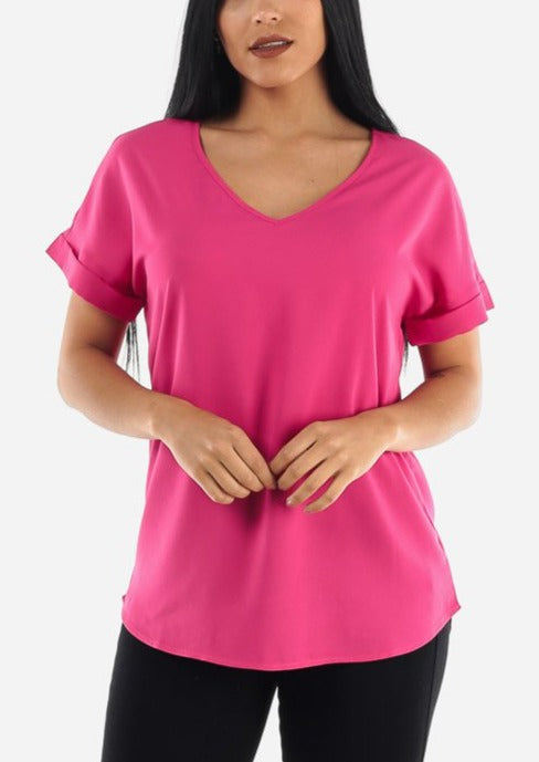 Hot Pink V-Neckline Blouse