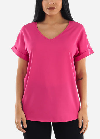 Image of Hot Pink V-Neckline Blouse