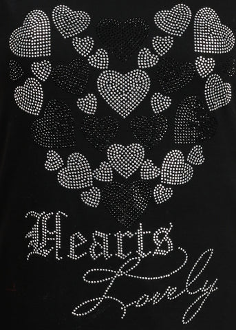 Women's Junior Casual Super Stretchy Sleeveless Rhinestone Hearts Lovely Print Black Tunic Top