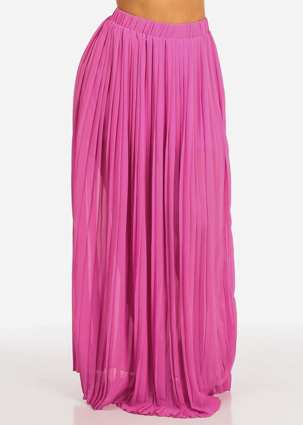 Fuchsia Pleated Maxi Skirt