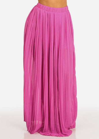 Image of Fuchsia Pleated Maxi Skirt