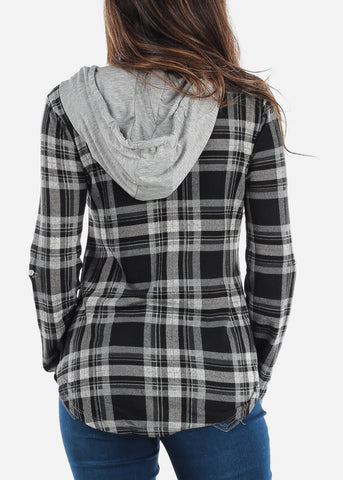 Image of Black Plaid Flannel Hoodie