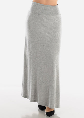 Image of Foldover Waist Grey Maxi Skirt