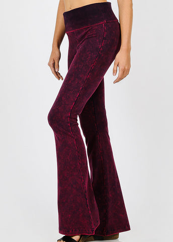 Mineral Wash Dark Plum Yoga Pants