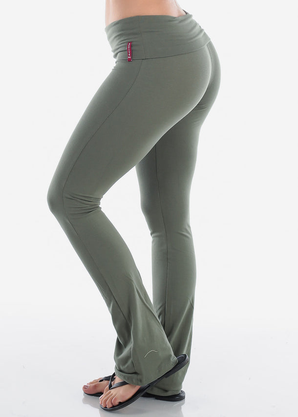 Olive Fold over Yoga Pants
