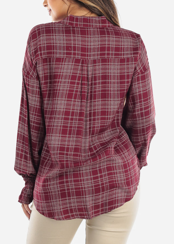 Burgundy Elastic Cuff Long Sleeve Shirt