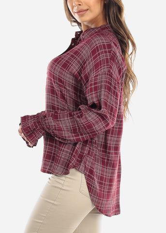 Burgundy Elastic Cuff Button Down Shirt