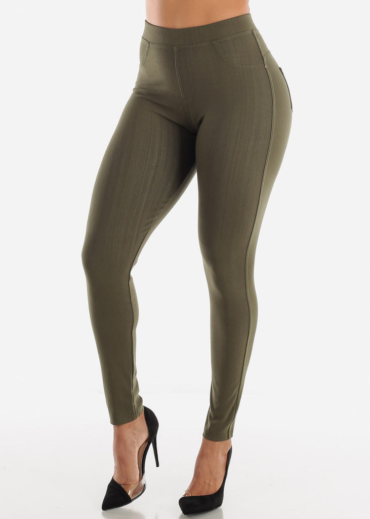 Olive High Waisted Skinny Pants
