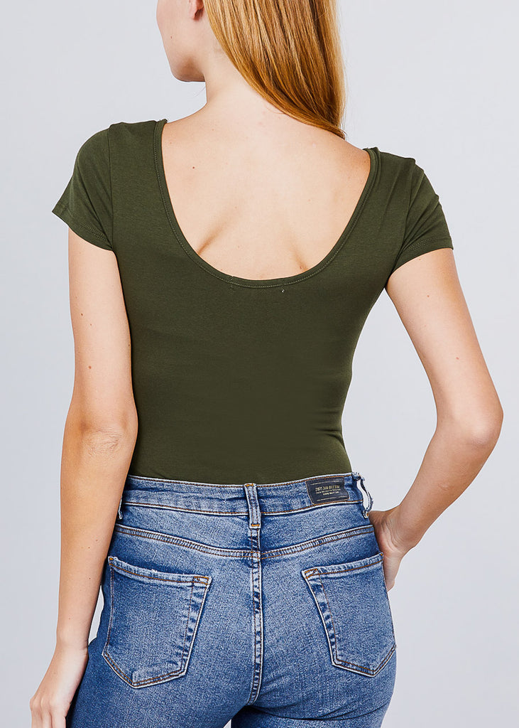 Basic Short Sleeve Round Neck Olive Bodysuit