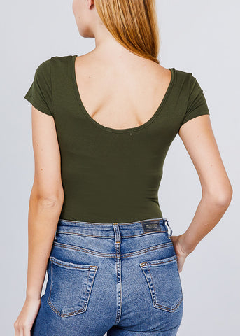 Image of Basic Short Sleeve Round Neck Olive Bodysuit