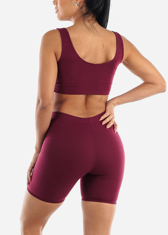 Burgundy Crop Tank Top & Bermuda Shorts (2 PCE SET)
