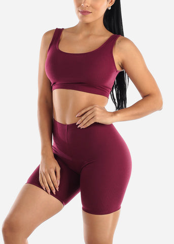 Image of Burgundy Crop Tank Top & Bermuda Shorts (2 PCE SET)