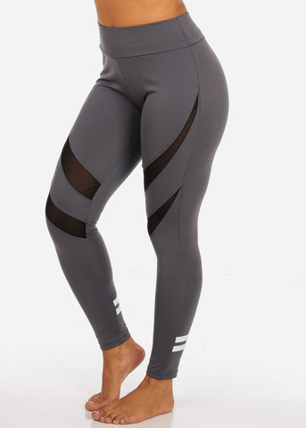 Image of Activewear Grey High Waisted Leggings W Mesh Sheer Detail And Back Leg Stripes