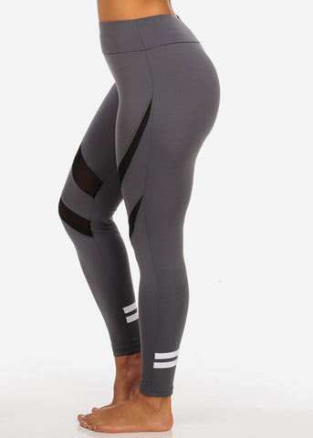 Activewear Grey High Waisted Leggings W Mesh Sheer Detail And Back Leg Stripes