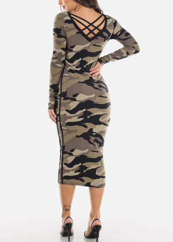 Image of Olive Camouflage Midi Dress