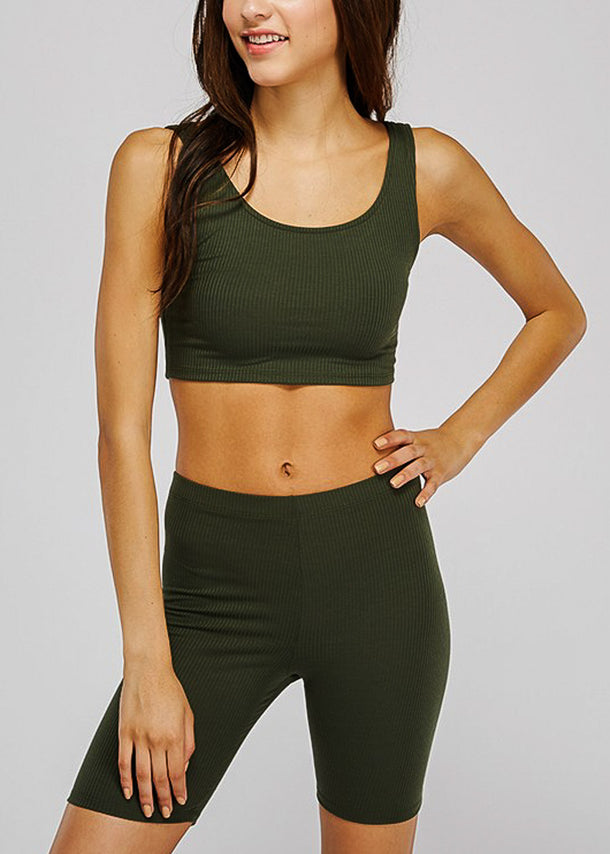 Olive Crop Tank Top & Bermuda Shorts (2 PCE SET)