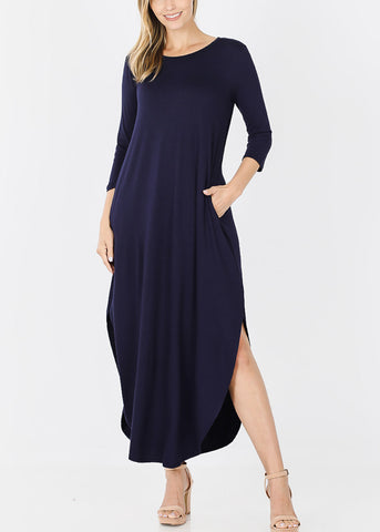 Image of Navy Round Hem Maxi Dress