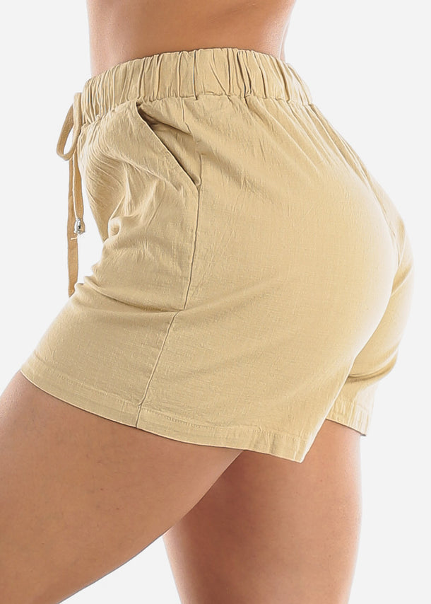 Linen Cotton Khaki Shorts