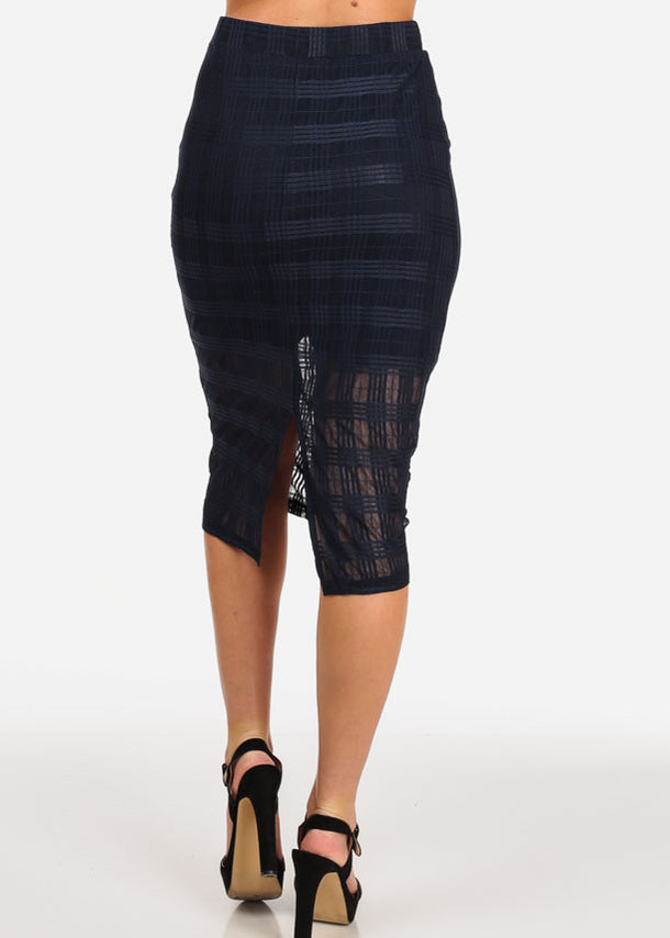 Navy Grid Mesh Midi Skirt