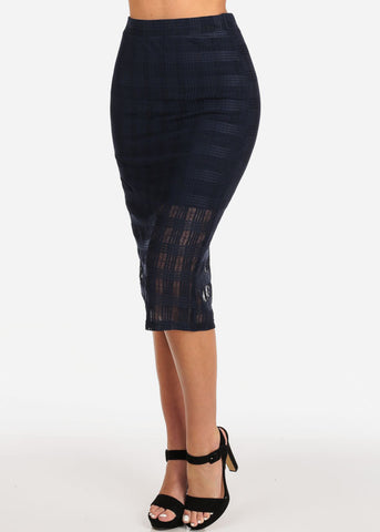 Image of Women's Junior Ladies Going Out Date Night Out Sexy Pull On Grid Mesh Navy Pencil Midi Skirt