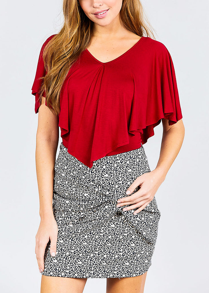 V Neck Cape Rayon Red Top