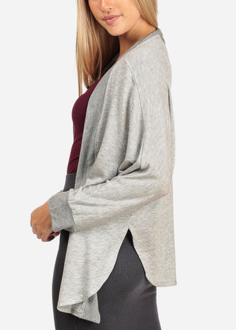 Image of Women's Junior Stylish Casual Going Out Must Have Grey Open Front Long Sleeve Stretchy Cardigan