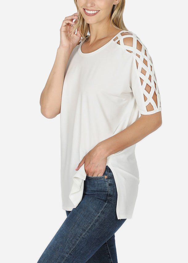 Criss-Cross Shoulder Ivory Tunic Top