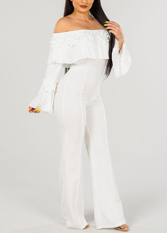 Women's Junior Ladies Sexy Party Night Out Clubwear Gala Off Shoulder Floral Crochet Detail Long Sleeve Solid Pure White Wide Legged Jumper Jumpsuit