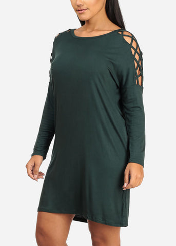 Green Lace Up Sleeve Dress